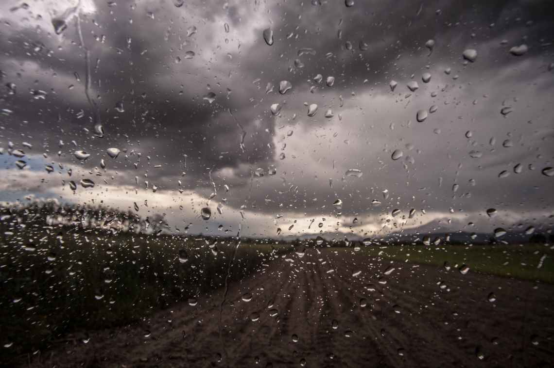car drops of water glass rain